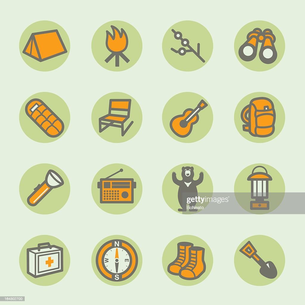 Sixteen camping icons arranged in a square