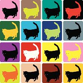Sixteen Cats (vector illustration)