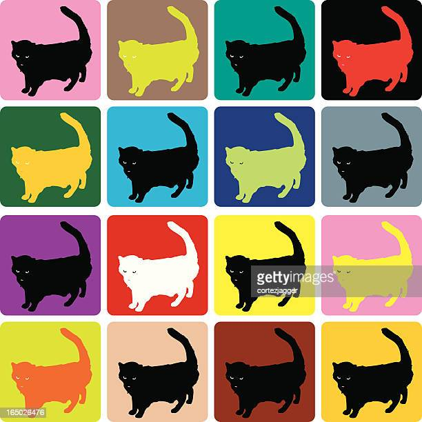 sixteen cats (vector illustration) - multiple image stock illustrations, clip art, cartoons, & icons