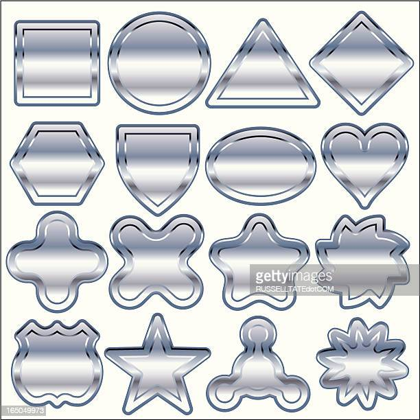 sixteen chrome only shapes - chrome stock illustrations, clip art, cartoons, & icons