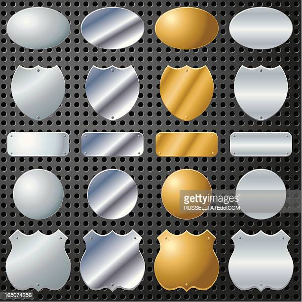 sixteen chrome shields - award plaque stock illustrations, clip art, cartoons, & icons