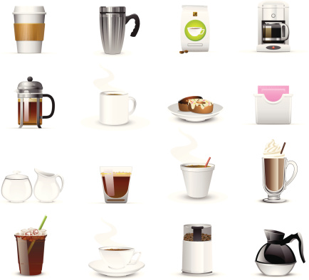 Sixteen coffee related icons and logos - gettyimageskorea