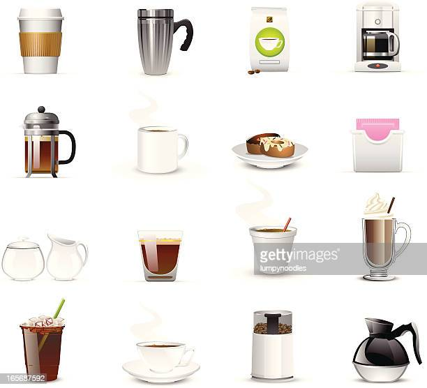 Sixteen coffee related icons and logos