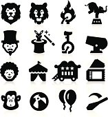 Sixteen different circus icons in black on white background
