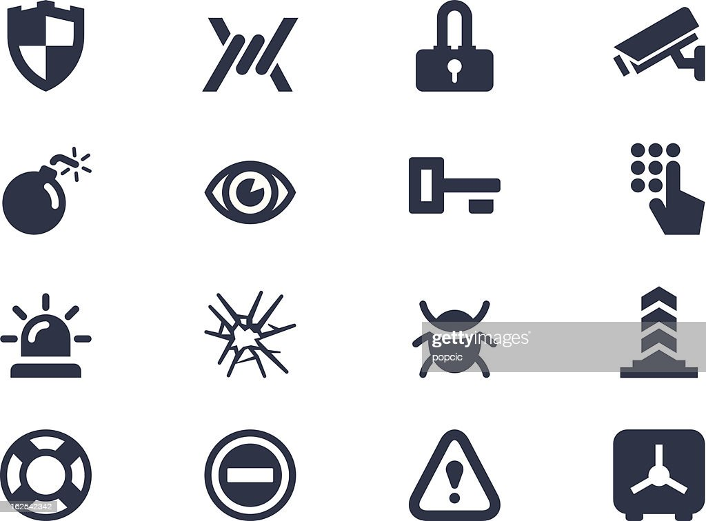 Sixteen different security icons