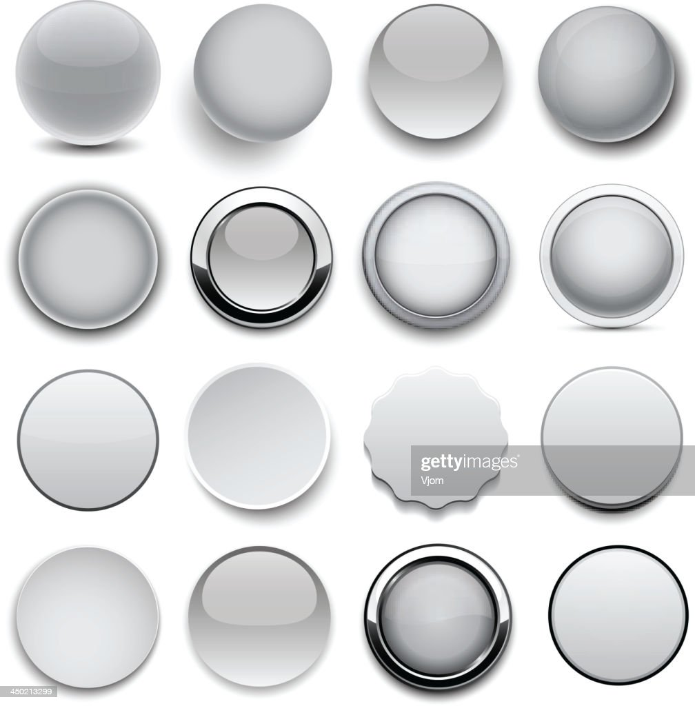 Sixteen different types of round and grey icons