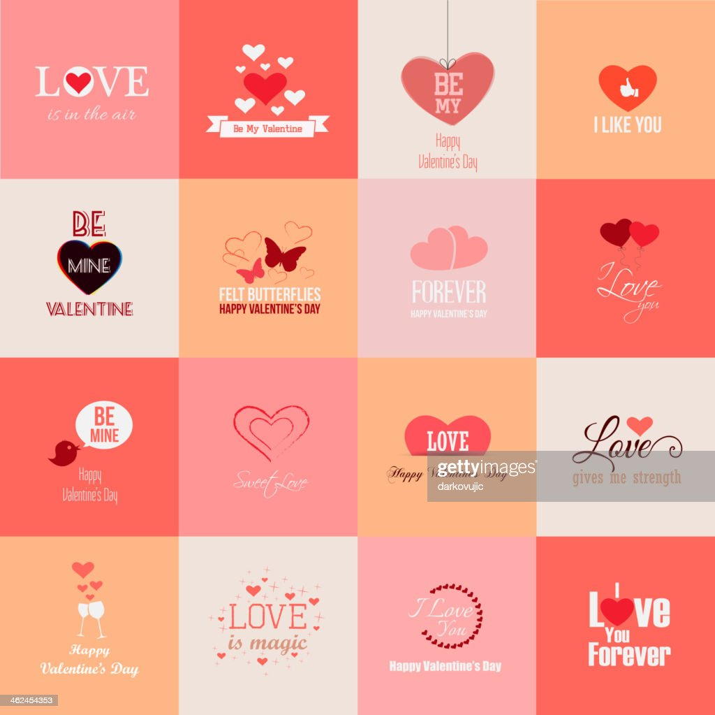 Sixteen different valentines day related images