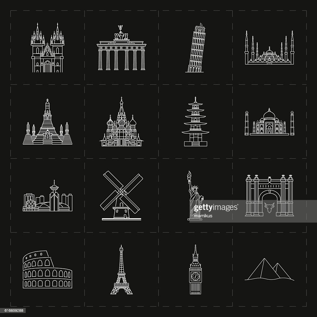 sixteen flat landmark icons : Vector Art