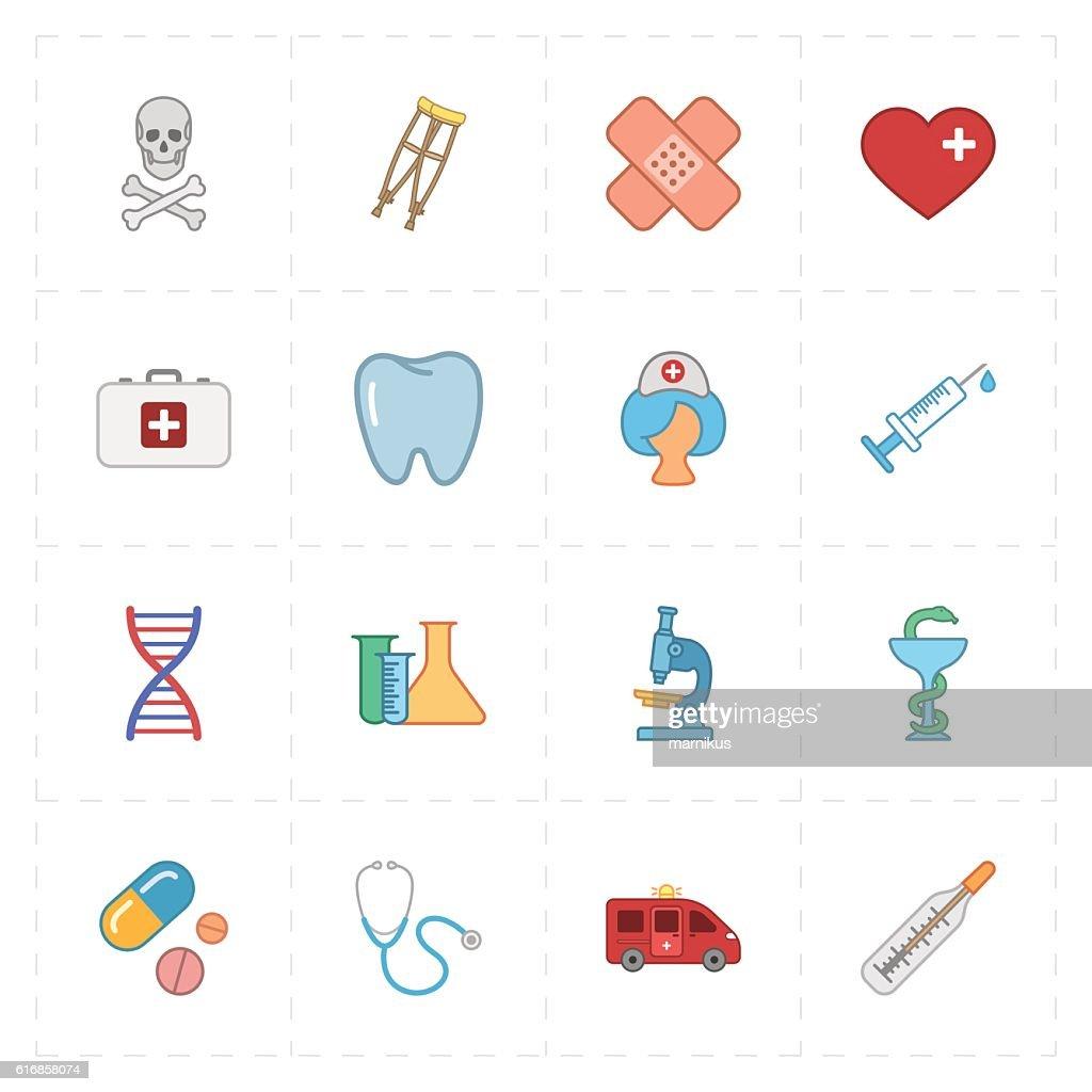 sixteen flat medicine icons : Vector Art