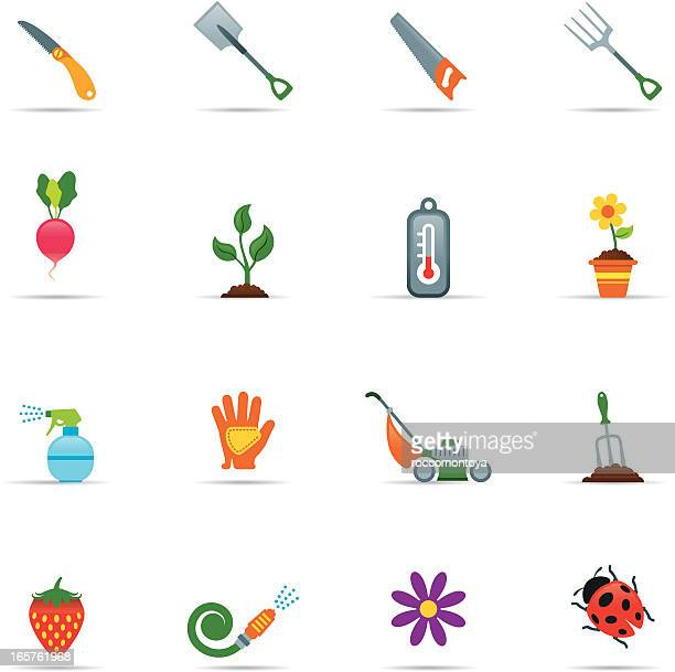 sixteen gardening icons on a white background - gardening glove stock illustrations, clip art, cartoons, & icons