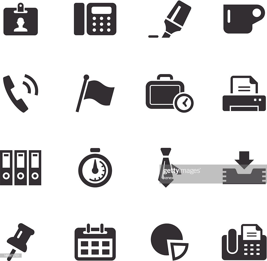 Sixteen icons about business and office