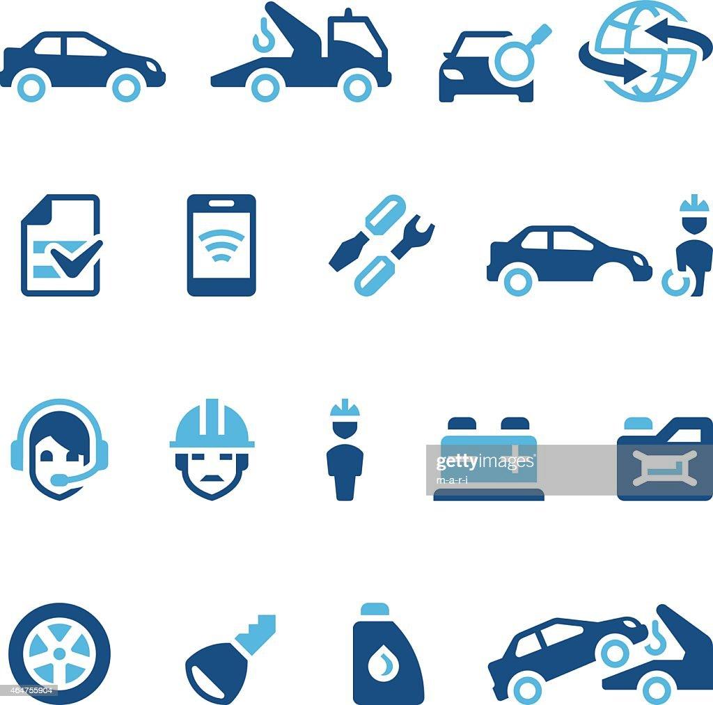 Sixteen navy blue auto insurance icons