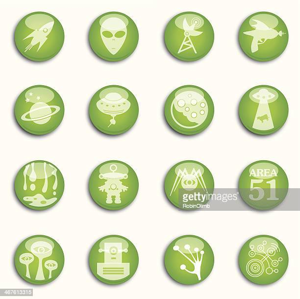Sixteen Shiny Alien Icons