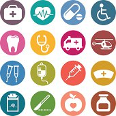 Sixteen various colorful circles with medical related icons