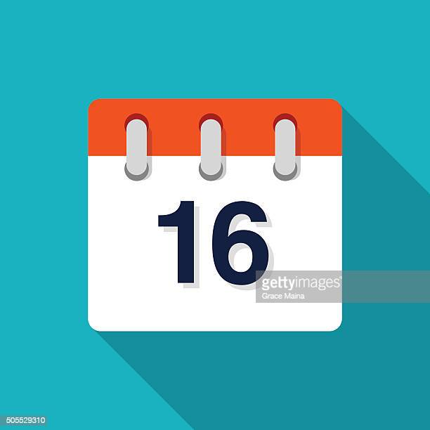 Sixteenth Flat Design Calendar Icon - VECTOR