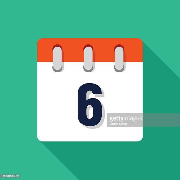 Sechste flachen Design-Kalender-Symbol-VEKTOR