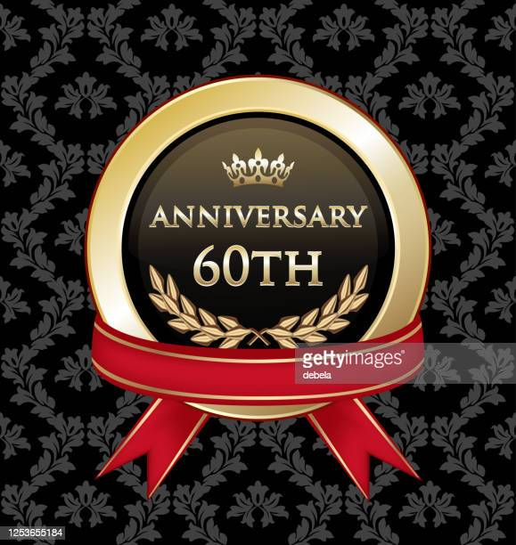 sixtieth anniversary celebration gold award - 60th anniversary stock illustrations