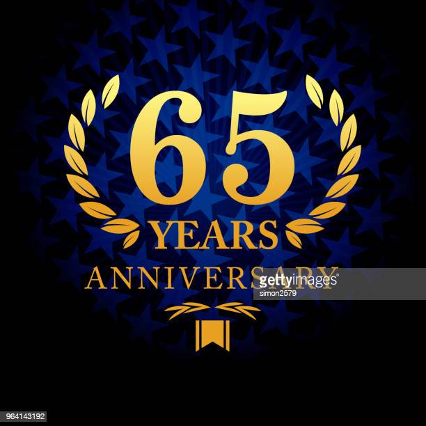 Sixty five year anniversary icon with blue color star shape background