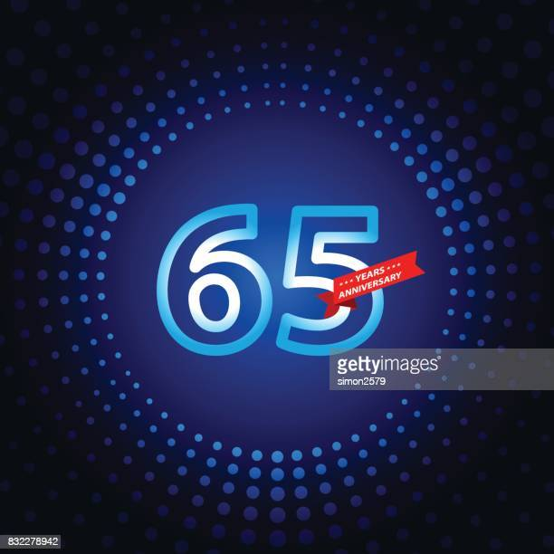 Sixty five years anniversary icon with blue color background