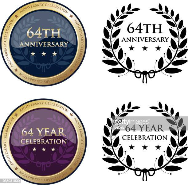 sixty fourth anniversary celebration gold medals - award plaque stock illustrations, clip art, cartoons, & icons