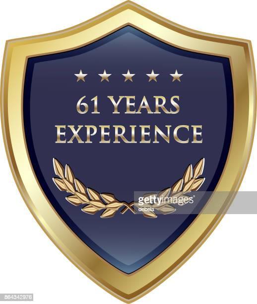 60 年経験金の盾 - 60周年点のイラスト素材/クリップアート素材/マンガ素材/アイコン素材