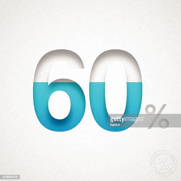 60 %の設計(60% )-ブルー番号を水彩画紙 - 数字の60点のイラスト素材/クリップアート素材/マンガ素材/アイコン素材