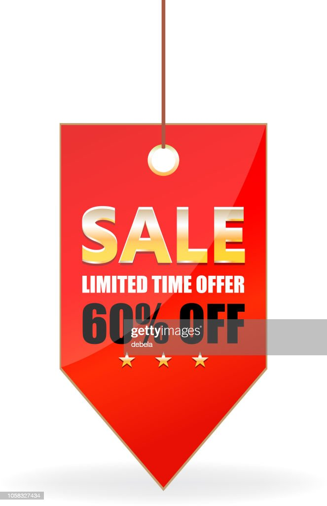 Sixty Percent Sale Offer Shiny Red Price Tag On A Rope : stock illustration
