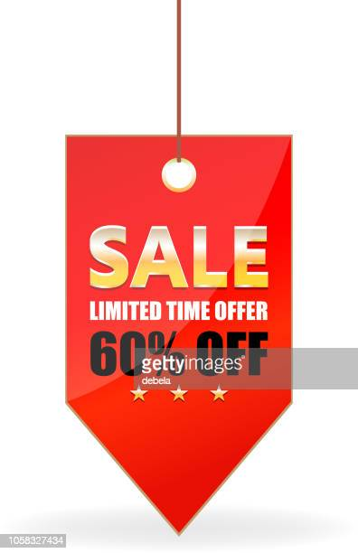 sixty percent sale offer shiny red price tag on a rope - labeling stock illustrations, clip art, cartoons, & icons