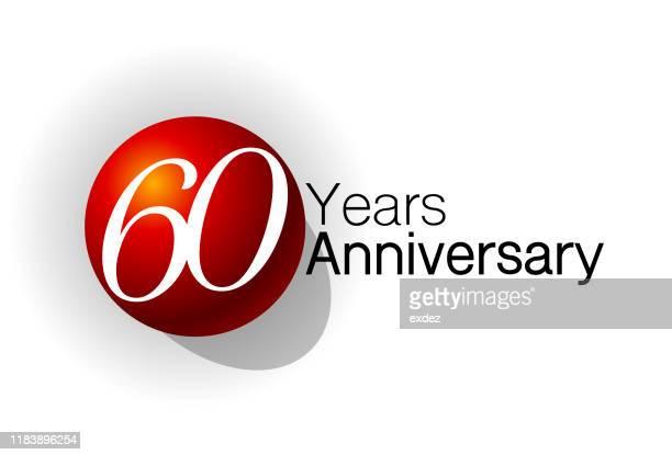 sixty year anniversary design - 60th anniversary stock illustrations