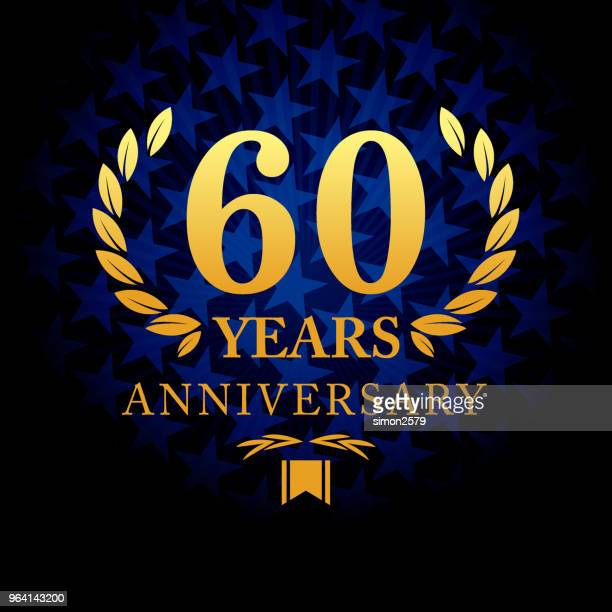 Sixty year anniversary icon with blue color star shape background