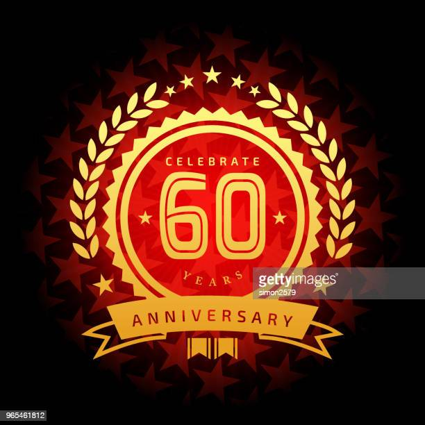 Sixty year anniversary icon with red color star shape background