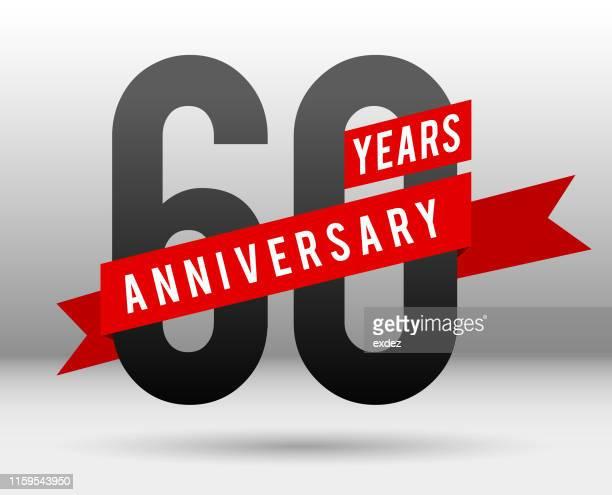 sixty year anniversary - 60th anniversary stock illustrations