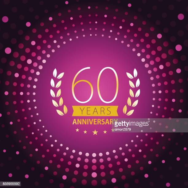 Sixty years anniversary icon with purple color background