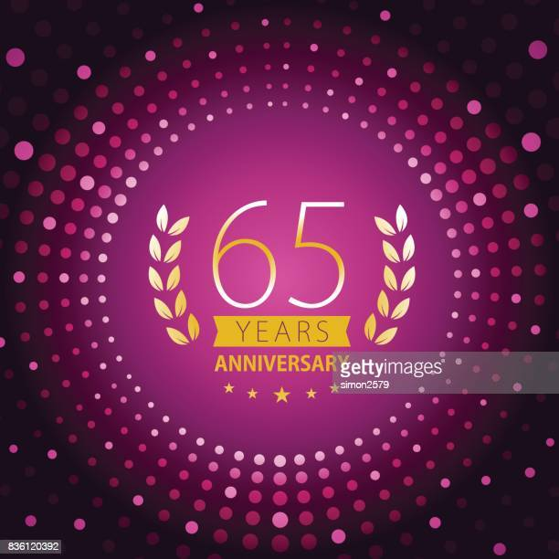 Sixty-five years anniversary icon with purple color background