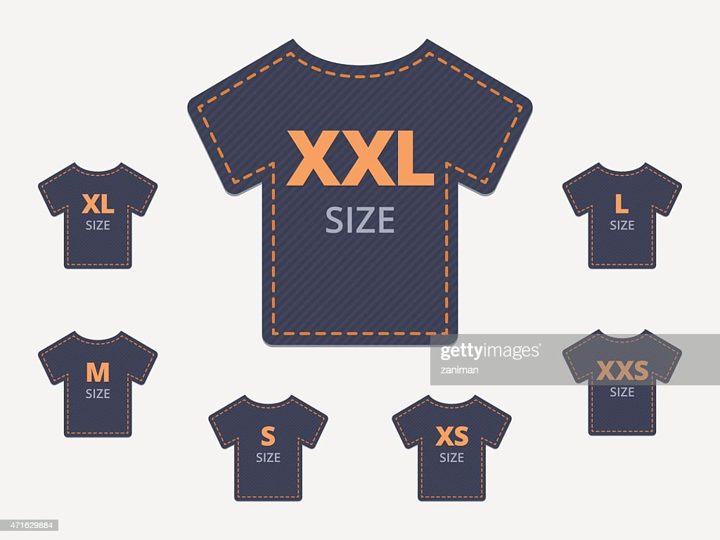 Size clothing t-shirt stickers set.