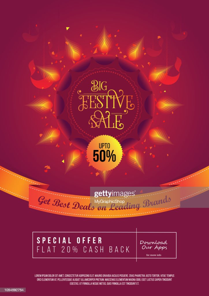 A4 Size Festival Sale, Offer Poster Design Layout Template