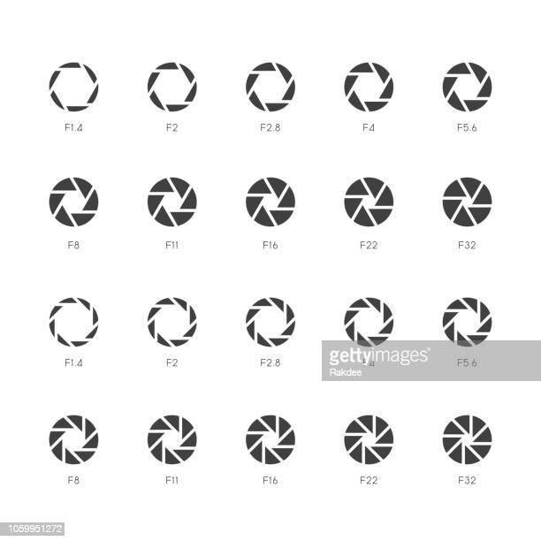 size of aperture icons - gray series - large format camera stock illustrations, clip art, cartoons, & icons