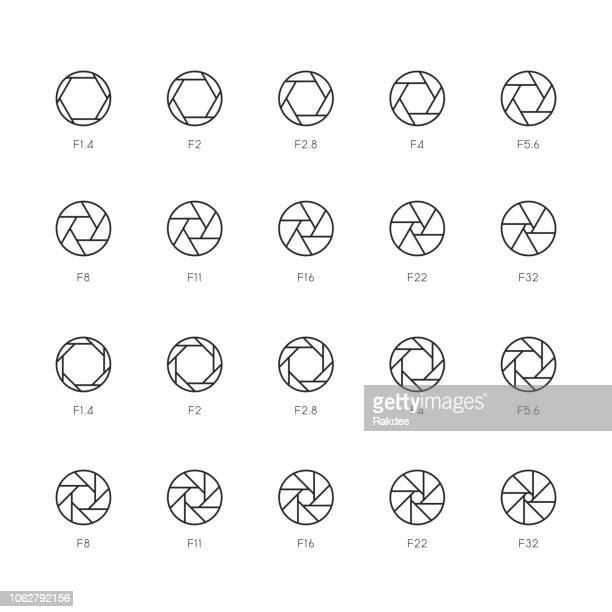 size of aperture icons - thin line series - large format camera stock illustrations, clip art, cartoons, & icons