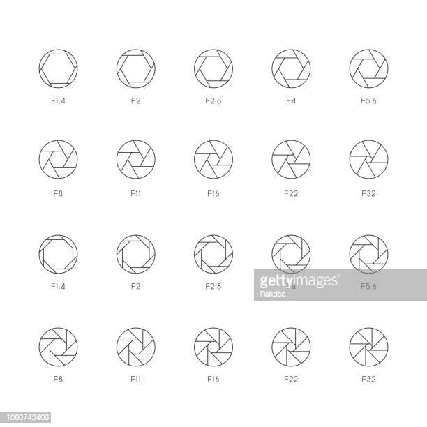 size of aperture icons - ultra thin line series - large format camera stock illustrations, clip art, cartoons, & icons