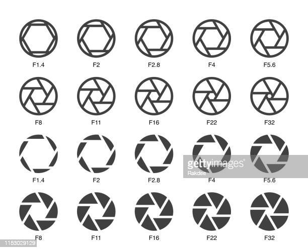 size of aperture set 1 - multi bold icons - large format camera stock illustrations, clip art, cartoons, & icons