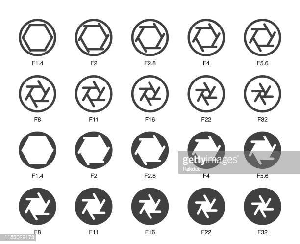 size of aperture set 2 - multi bold icons - large format camera stock illustrations, clip art, cartoons, & icons