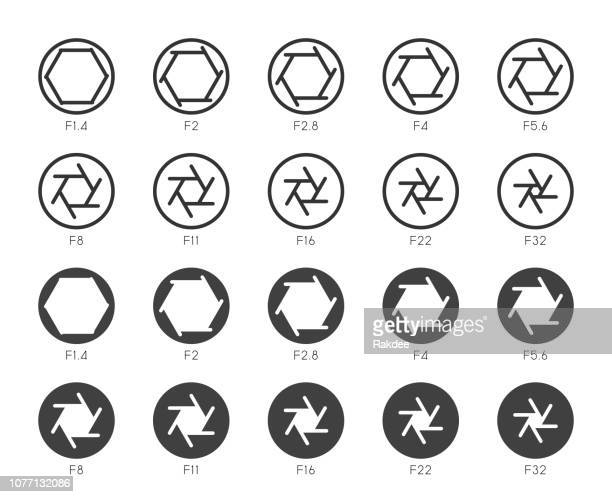 size of aperture set 2 - multi icons series - large format camera stock illustrations, clip art, cartoons, & icons