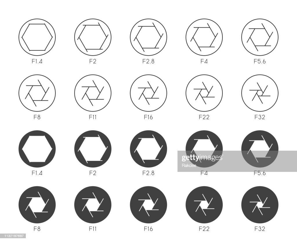 Size of Aperture Set 2 - Multi Thin Icons : stock illustration