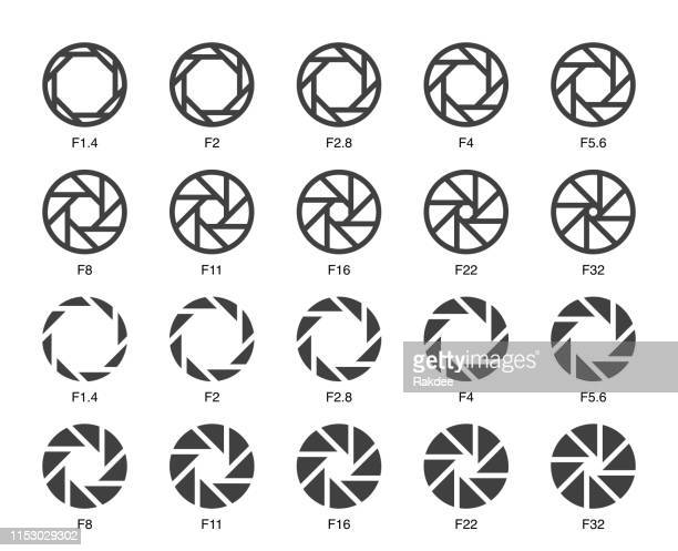 size of aperture set 3 - multi bold icons - large format camera stock illustrations, clip art, cartoons, & icons