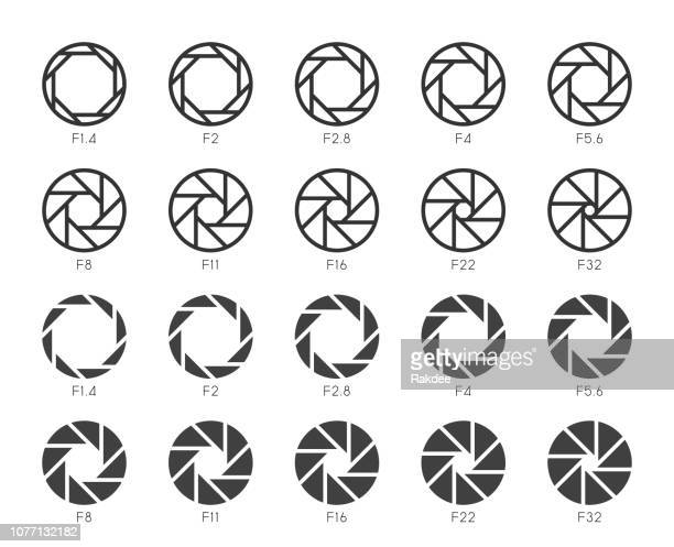 size of aperture set 3 - multi icons series - large format camera stock illustrations, clip art, cartoons, & icons