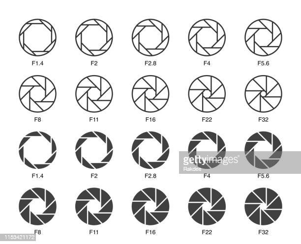 stockillustraties, clipart, cartoons en iconen met grootte van aperture set 3-multi light iconen - camera