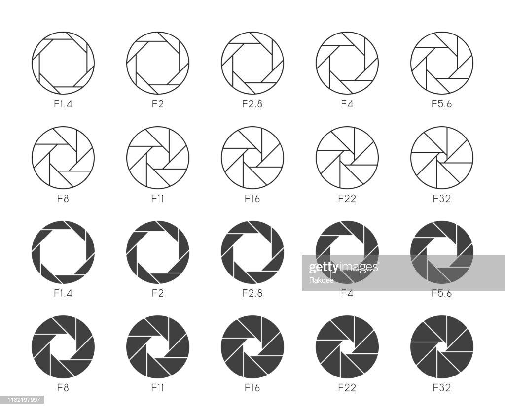 Size of Aperture Set 3 - Multi Thin Icons : stock illustration