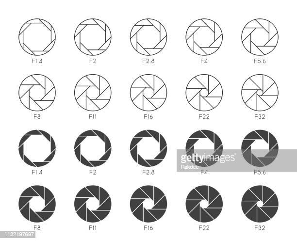 size of aperture set 3 - multi thin icons - film studio stock illustrations, clip art, cartoons, & icons