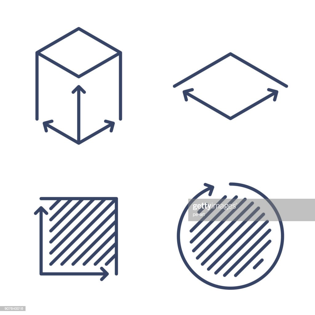 Size, square, area concept symbols. Dimension and measuring icon set.