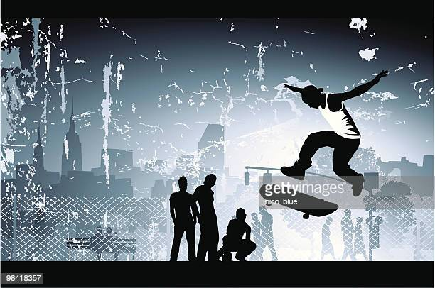 skate boarder - teenager stock illustrations